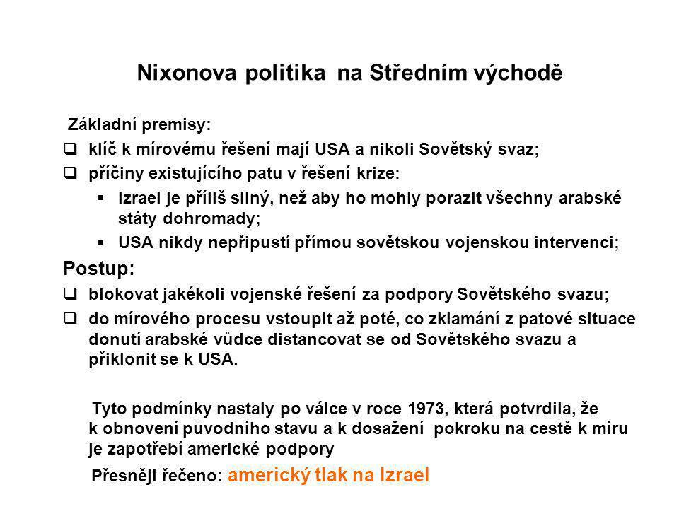 Nixonova politika na Středním východě Základní premisy:  klíč k mírovému řešení mají USA a nikoli Sovětský svaz;  příčiny existujícího patu v řešení