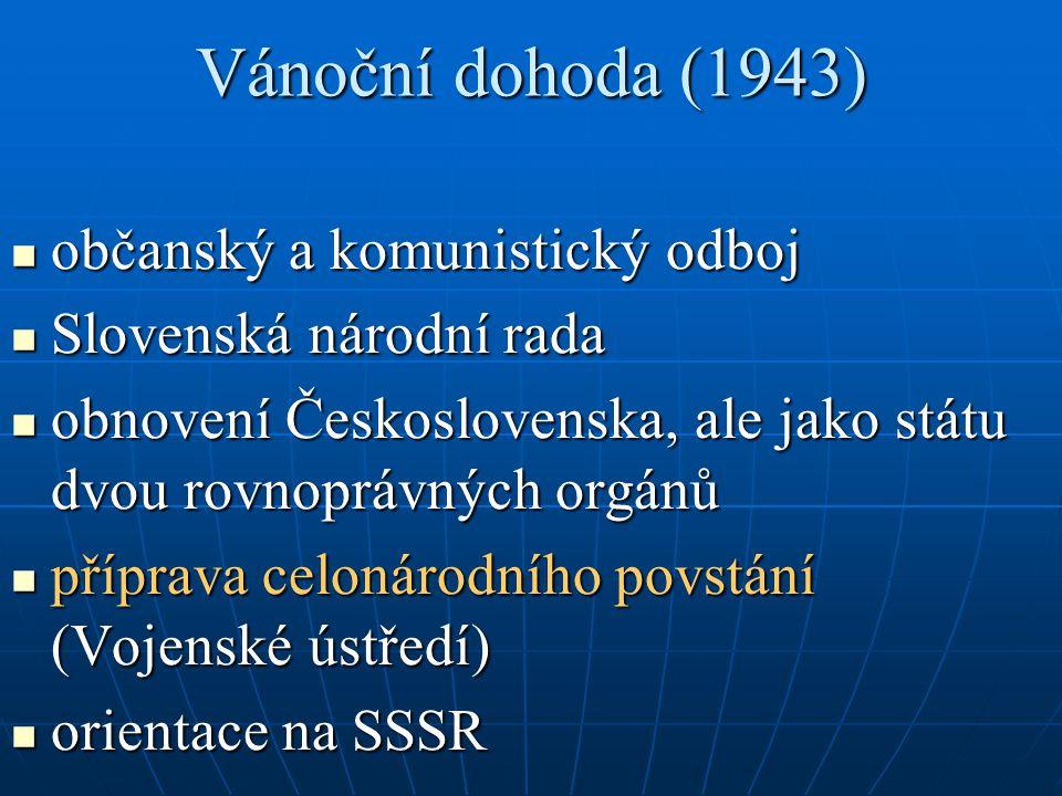 Vánoční dohoda (1943) občanský a komunistický odboj občanský a komunistický odboj Slovenská národní rada Slovenská národní rada obnovení Československa, ale jako státu dvou rovnoprávných orgánů obnovení Československa, ale jako státu dvou rovnoprávných orgánů příprava celonárodního povstání (Vojenské ústředí) příprava celonárodního povstání (Vojenské ústředí) orientace na SSSR orientace na SSSR