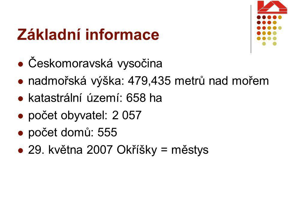 Základní informace Českomoravská vysočina nadmořská výška: 479,435 metrů nad mořem katastrální území: 658 ha počet obyvatel: 2 057 počet domů: 555 29.