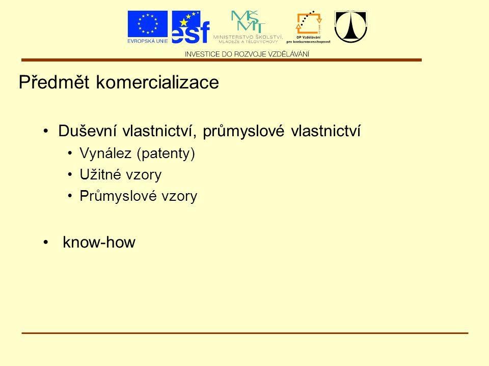 Předmět komercializace Duševní vlastnictví, průmyslové vlastnictví Vynález (patenty) Užitné vzory Průmyslové vzory know-how