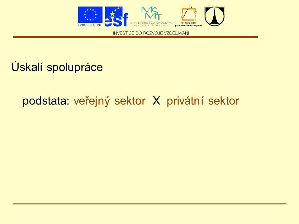 Úskalí spolupráce podstata: veřejný sektor X privátní sektor