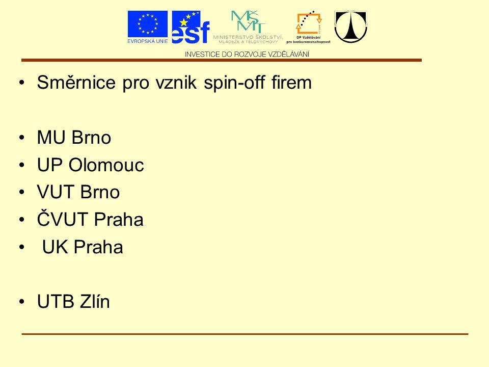 Směrnice pro vznik spin-off firem MU Brno UP Olomouc VUT Brno ČVUT Praha UK Praha UTB Zlín