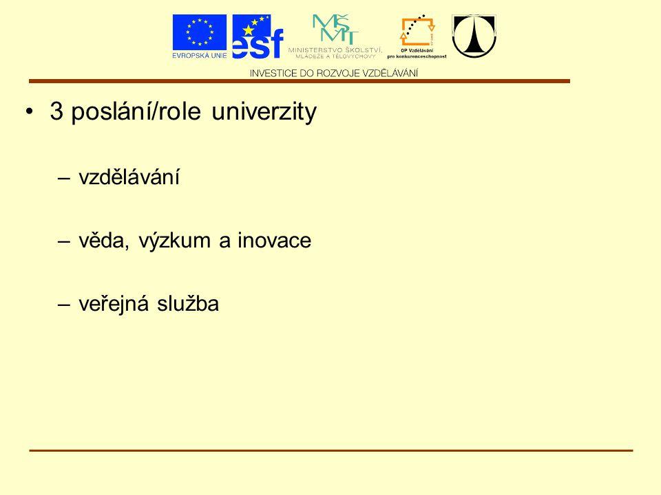 3 poslání/role univerzity –vzdělávání –věda, výzkum a inovace –veřejná služba