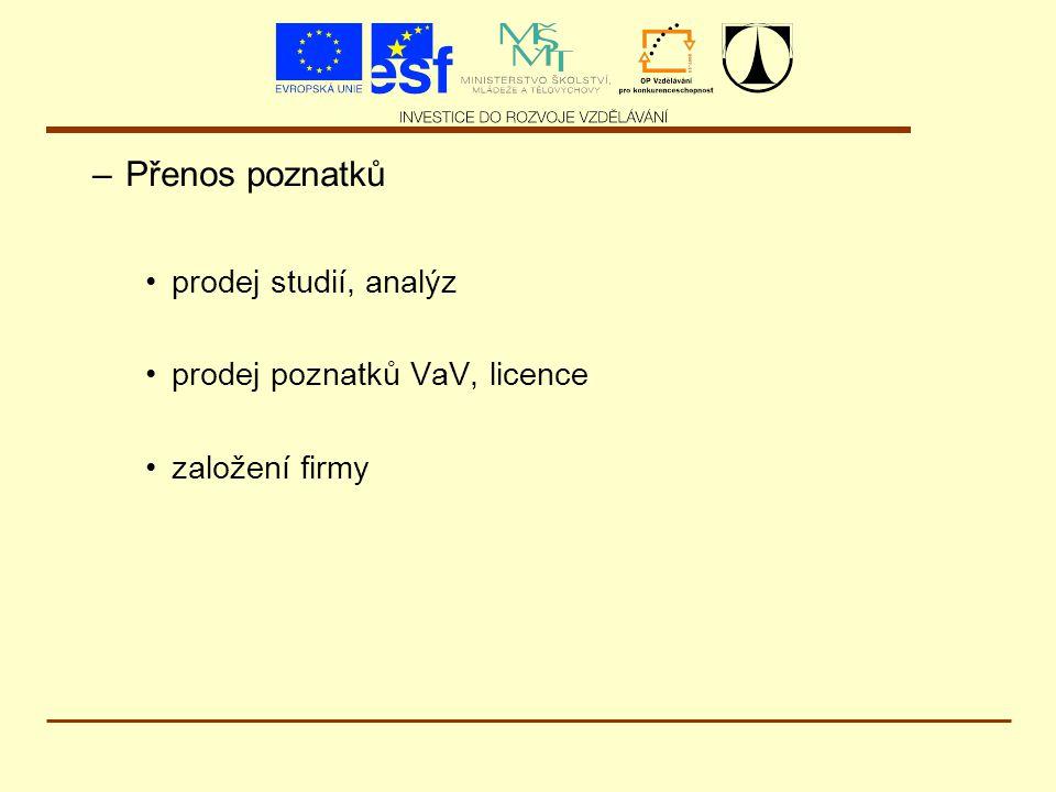 –Přenos poznatků prodej studií, analýz prodej poznatků VaV, licence založení firmy