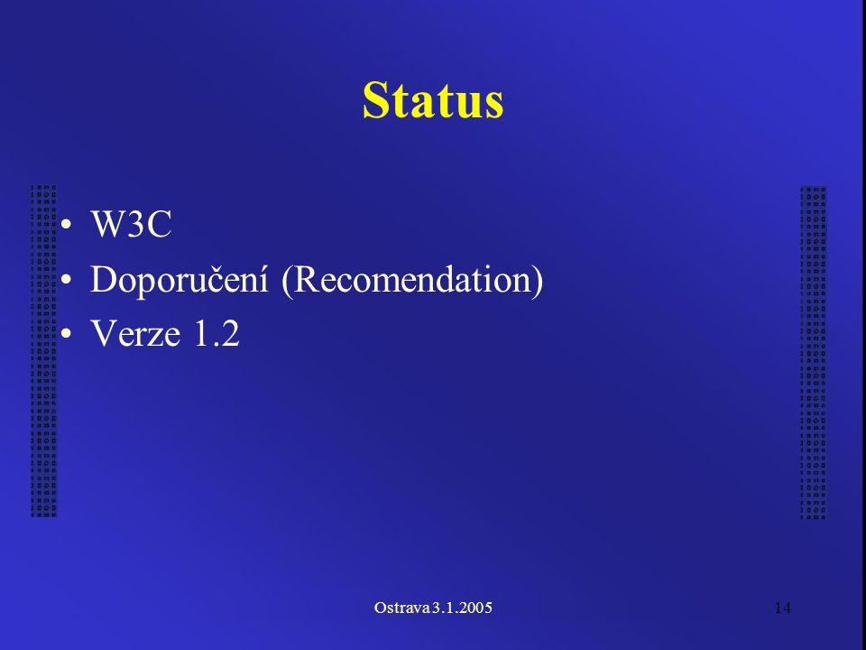 Ostrava 3.1.200514 Status W3C Doporučení (Recomendation) Verze 1.2