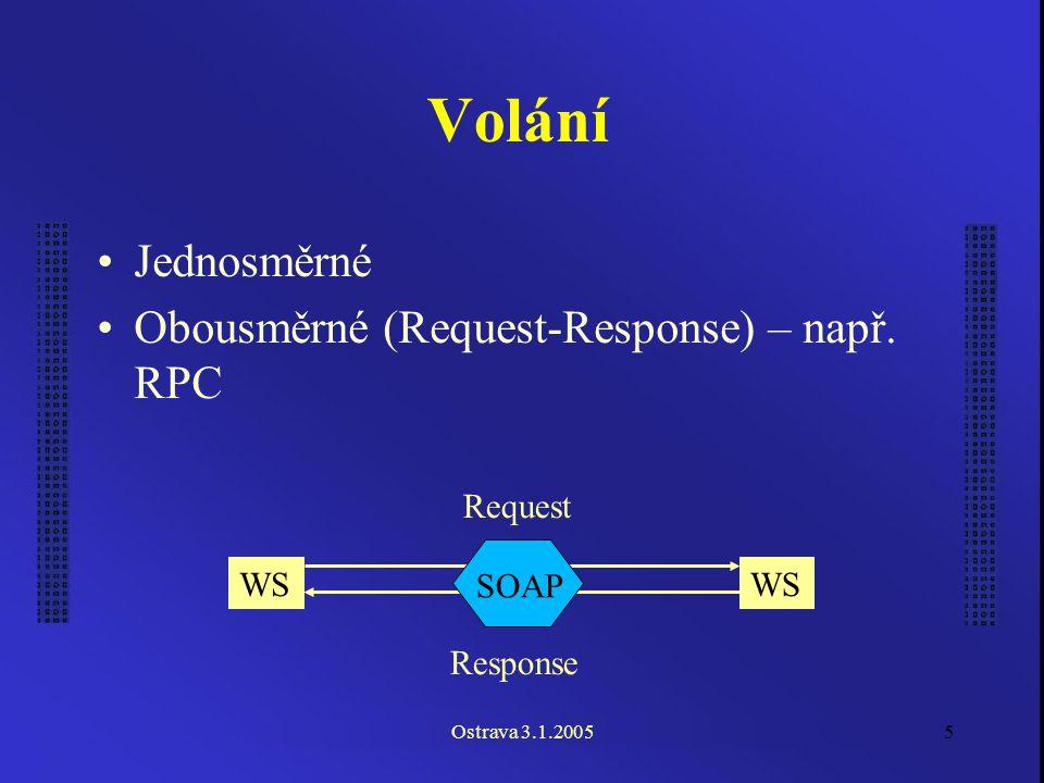 Ostrava 3.1.20055 Volání Jednosměrné Obousměrné (Request-Response) – např.