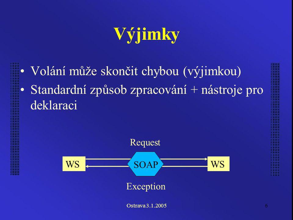 Ostrava 3.1.20056 Výjimky Volání může skončit chybou (výjimkou) Standardní způsob zpracování + nástroje pro deklaraci WS SOAP Request Exception