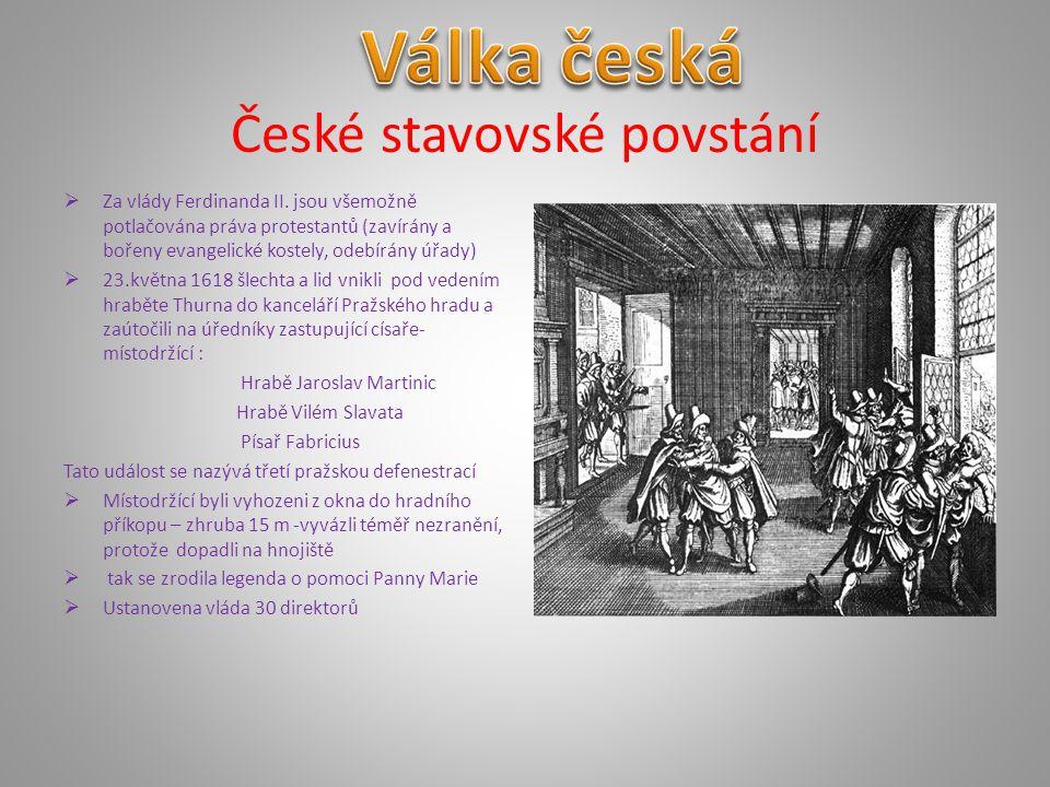 """Bitva na Bílé hoře  Roku 1619 je sesazen Ferdinand Štýrský a zvolen Fridrich Falcký na základě svého příbuzenství s anglickým králem  8.listopadu 1620 se střetla císařská vojska s českými stavy v bitvě na Bílé hoře – trvala přibližně dvě hodiny -stavy měly méně vojáků,ale v lepší pozici na návrší -stavovská vojska byla poražena – armáda byla nedisciplinovaná a špatně placená -Fridrich Falcký prchá z Hradu-pro velmi krátkou dobu trvání vlády dostal přízvisko """"zimní král"""