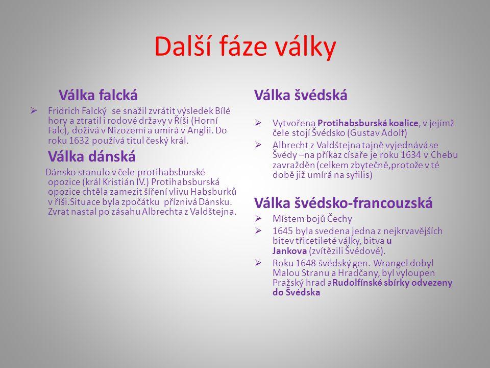 Další fáze války Válka falcká  Fridrich Falcký se snažil zvrátit výsledek Bílé hory a ztratil i rodové državy v Říši (Horní Falc), dožívá v Nizozemí
