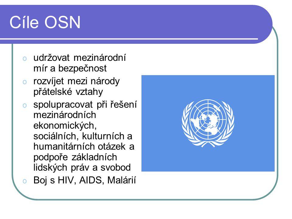 Cíle OSN o udržovat mezinárodní mír a bezpečnost o rozvíjet mezi národy přátelské vztahy o spolupracovat při řešení mezinárodních ekonomických, sociál