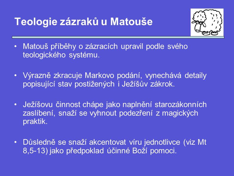 Teologie zázraků u Matouše Matouš příběhy o zázracích upravil podle svého teologického systému.