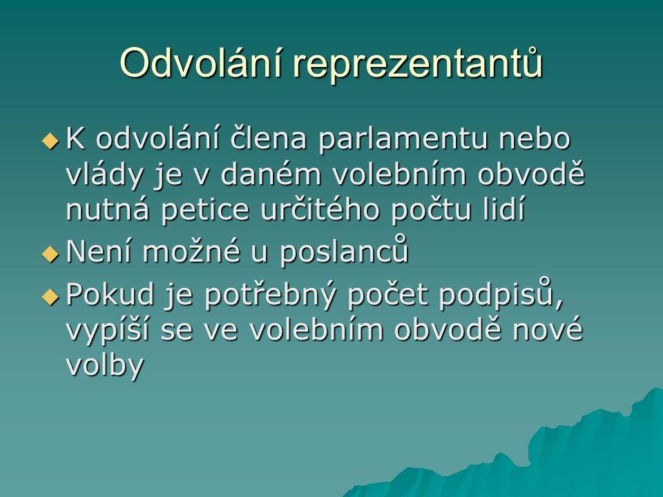 Odvolání reprezentantů  K odvolání člena parlamentu nebo vlády je v daném volebním obvodě nutná petice určitého počtu lidí  Není možné u poslanců 