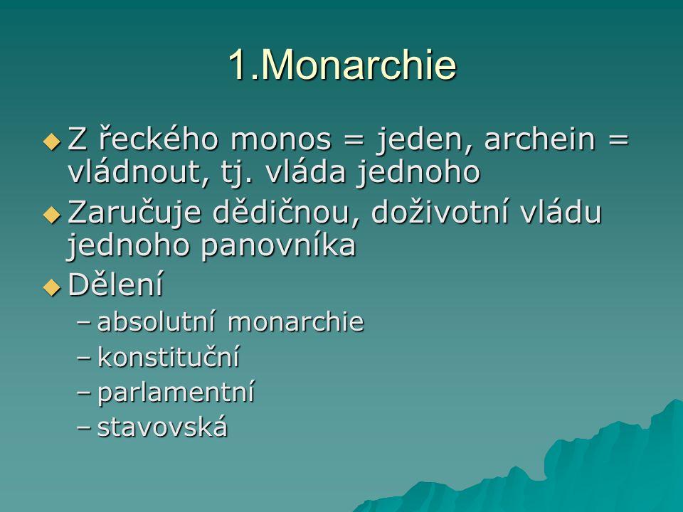 1.Monarchie  Z řeckého monos = jeden, archein = vládnout, tj. vláda jednoho  Zaručuje dědičnou, doživotní vládu jednoho panovníka  Dělení –absolutn