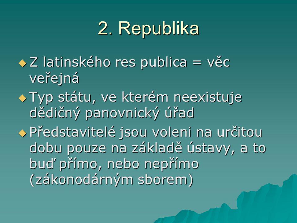 2. Republika  Z latinského res publica = věc veřejná  Typ státu, ve kterém neexistuje dědičný panovnický úřad  Představitelé jsou voleni na určitou