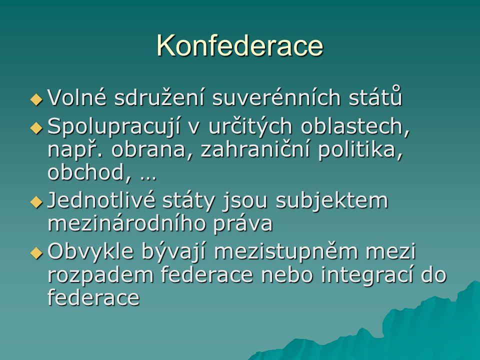Konfederace  Volné sdružení suverénních států  Spolupracují v určitých oblastech, např. obrana, zahraniční politika, obchod, …  Jednotlivé státy js