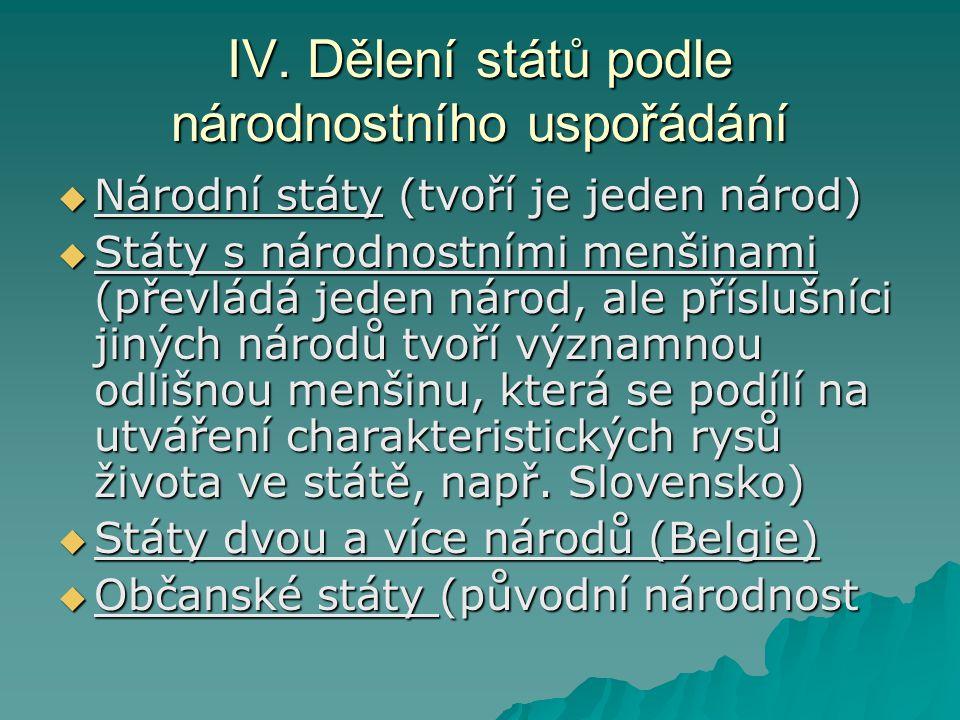 IV. Dělení států podle národnostního uspořádání  Národní státy (tvoří je jeden národ)  Státy s národnostními menšinami (převládá jeden národ, ale př