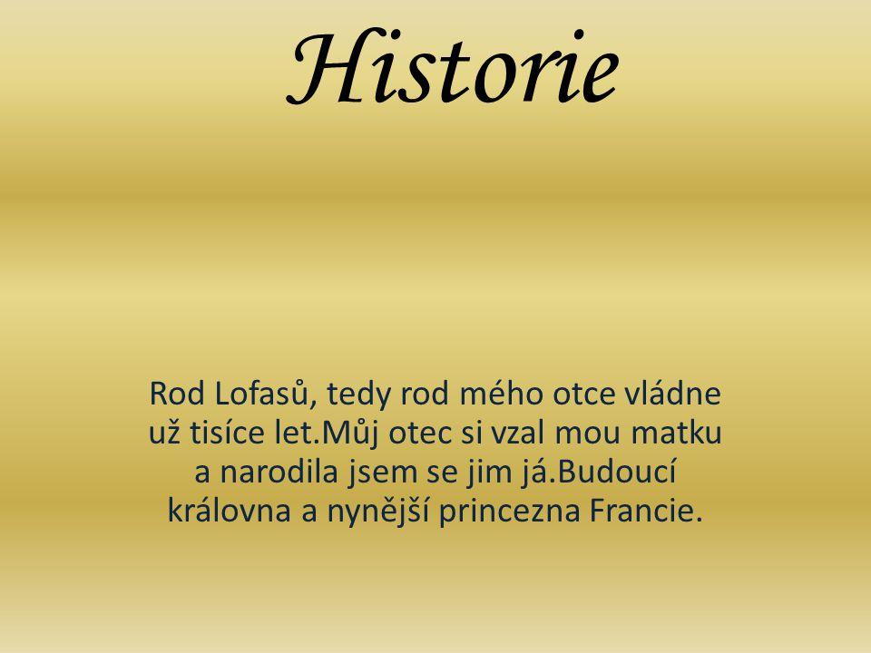 Historie Rod Lofasů, tedy rod mého otce vládne už tisíce let.Můj otec si vzal mou matku a narodila jsem se jim já.Budoucí královna a nynější princezna