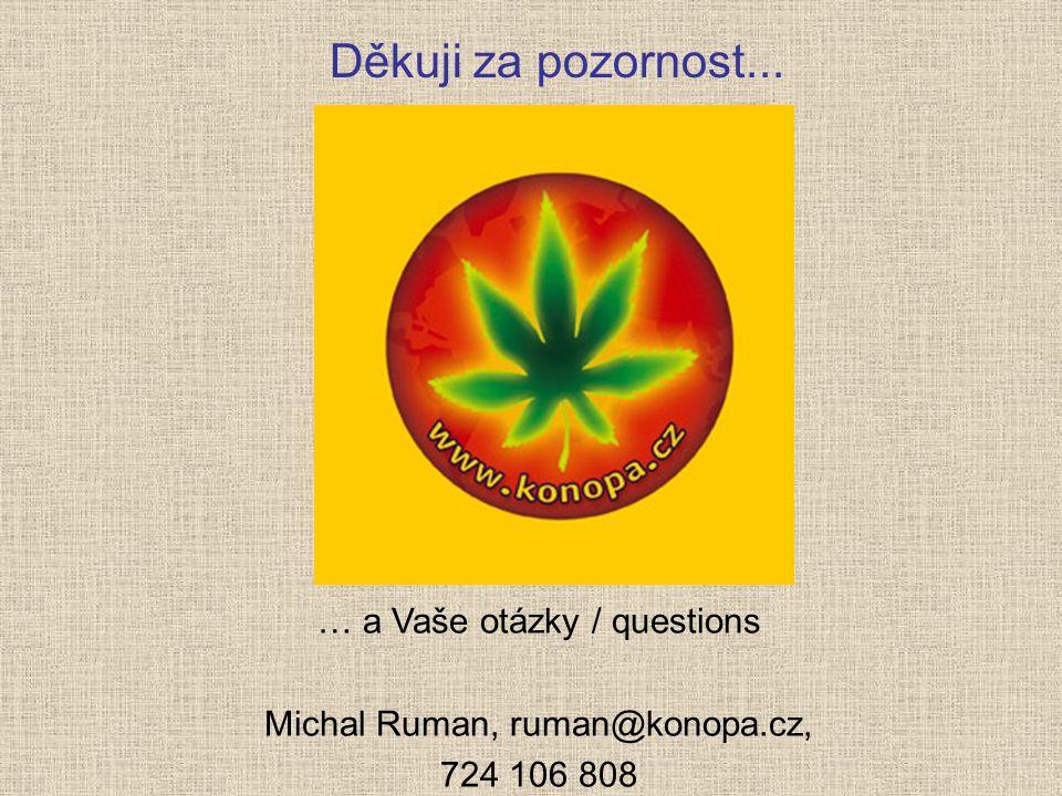Děkuji za pozornost... … a Vaše otázky / questions Michal Ruman, ruman@konopa.cz, 724 106 808