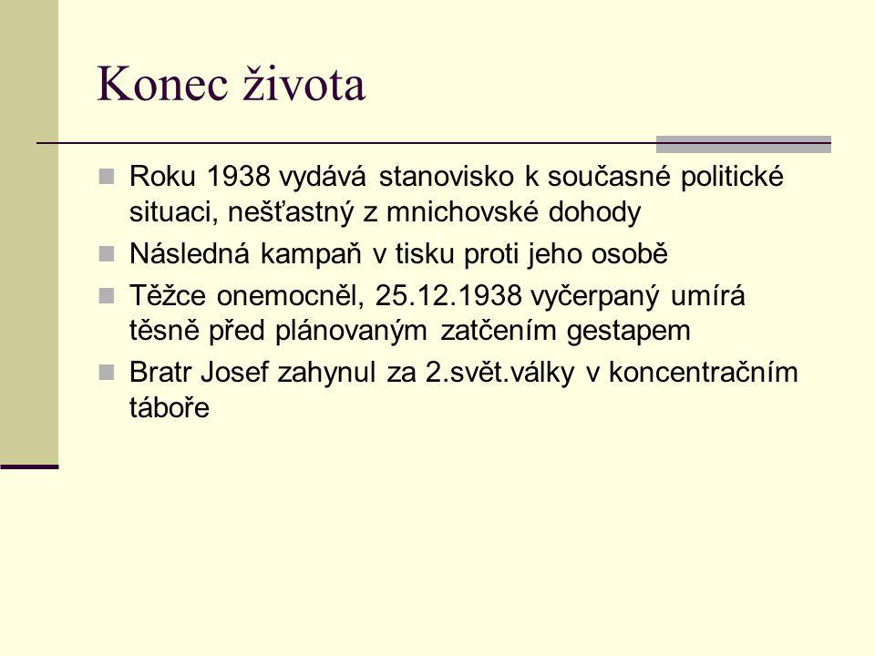 Konec života Roku 1938 vydává stanovisko k současné politické situaci, nešťastný z mnichovské dohody Následná kampaň v tisku proti jeho osobě Těžce on