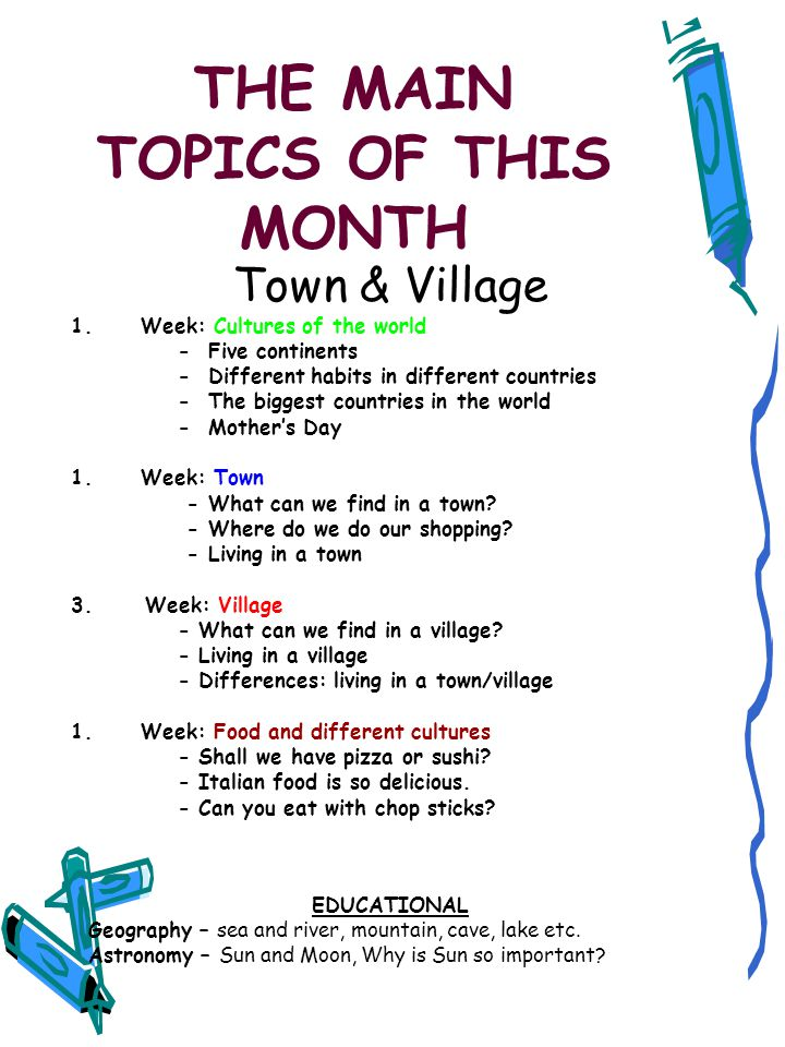 THE MAIN TOPICS OF THIS MONTH Town & Village 1.Week: Cultures of the world - Five continents - Different habits in different countries - The biggest countries in the world - Mother's Day 1.Week: Town - What can we find in a town.