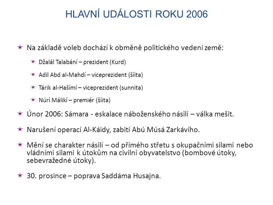  Na základě voleb dochází k obměně politického vedení země:  Džalál Talabání – prezident (Kurd)  Adil Abd al-Mahdí – viceprezident (šíita)  Tárik al-Hašímí – viceprezident (sunnita)  Núrí Málikí – premiér (šíita)  Únor 2006: Sámara - eskalace náboženského násilí – válka mešit.