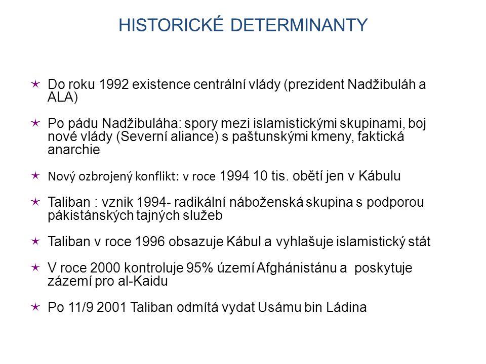  Do roku 1992 existence centrální vlády (prezident Nadžibuláh a ALA)  Po pádu Nadžibuláha: spory mezi islamistickými skupinami, boj nové vlády (Severní aliance) s paštunskými kmeny, faktická anarchie  Nový ozbrojený konflikt: v roce 1994 10 tis.