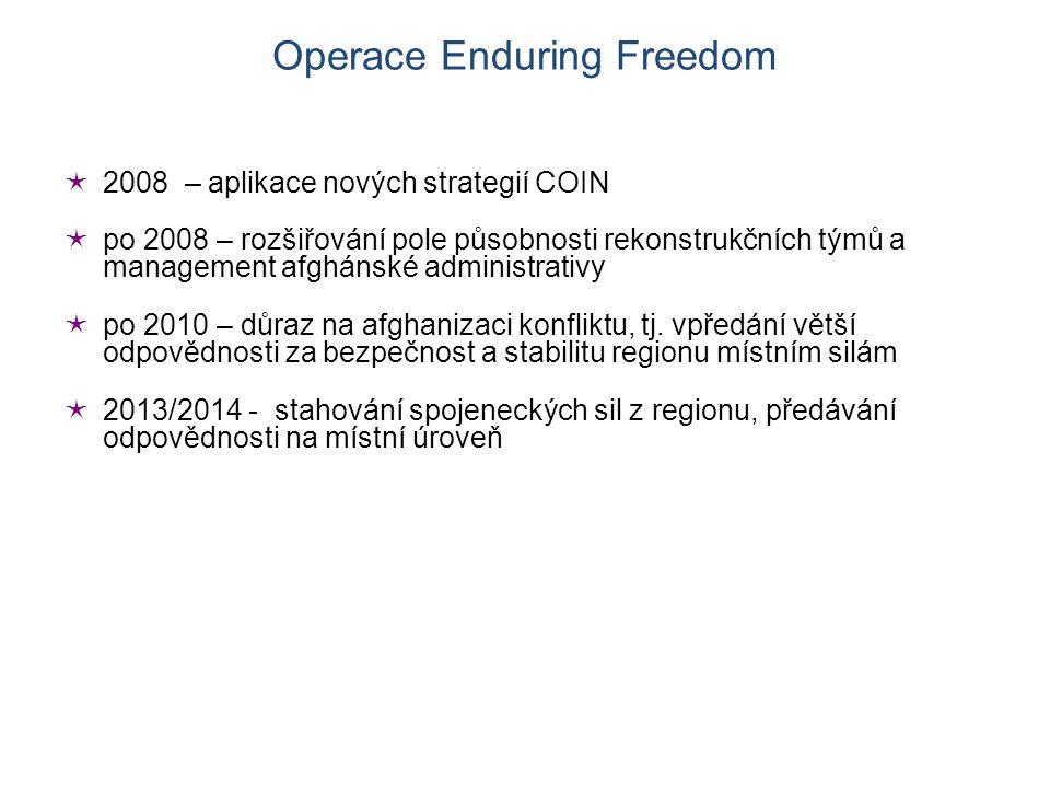  2008 – aplikace nových strategií COIN  po 2008 – rozšiřování pole působnosti rekonstrukčních týmů a management afghánské administrativy  po 2010 – důraz na afghanizaci konfliktu, tj.
