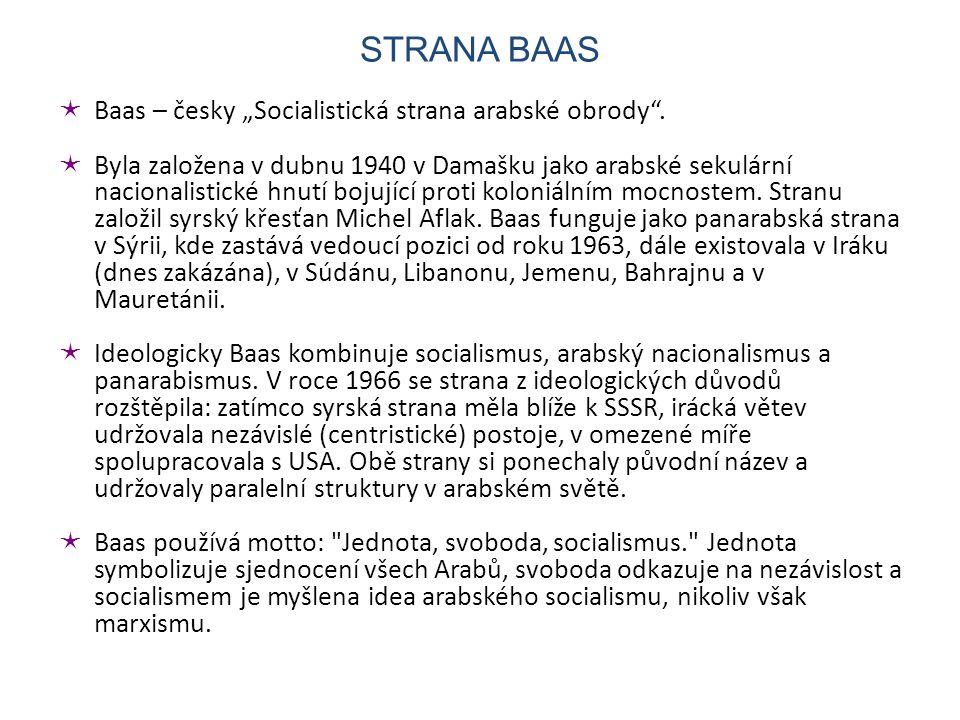 """ Baas – česky """"Socialistická strana arabské obrody ."""