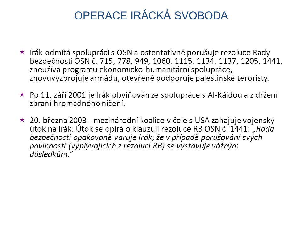  Irák odmítá spolupráci s OSN a ostentativně porušuje rezoluce Rady bezpečnosti OSN č.