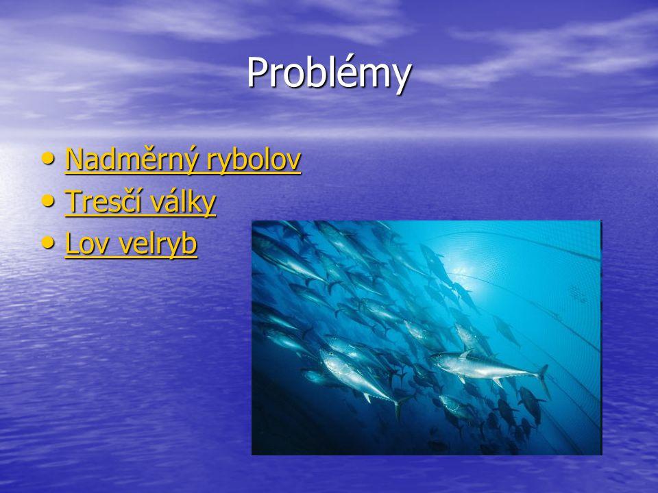 Problémy Nadměrný rybolov Nadměrný rybolov Nadměrný rybolov Nadměrný rybolov Tresčí války Tresčí války Tresčí války Tresčí války Lov velryb Lov velryb
