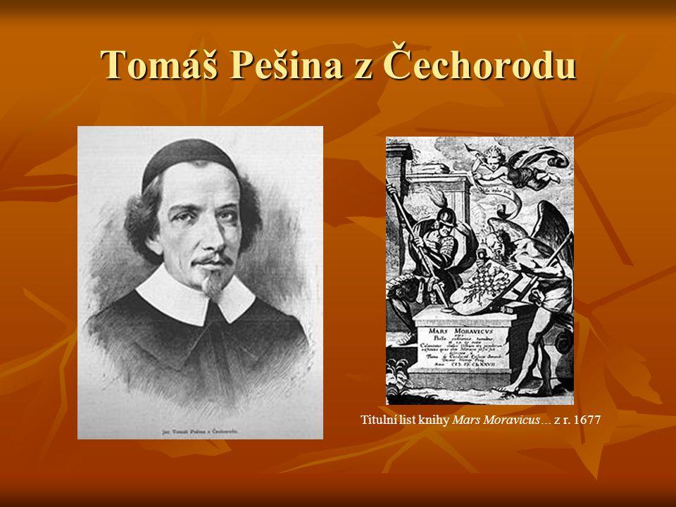 Tomáš Pešina z Čechorodu Titulní list knihy Mars Moravicus… z r. 1677