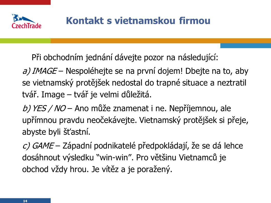14 Kontakt s vietnamskou firmou Při obchodním jednání dávejte pozor na následující: a)IMAGE – Nespoléhejte se na první dojem! Dbejte na to, aby se vie