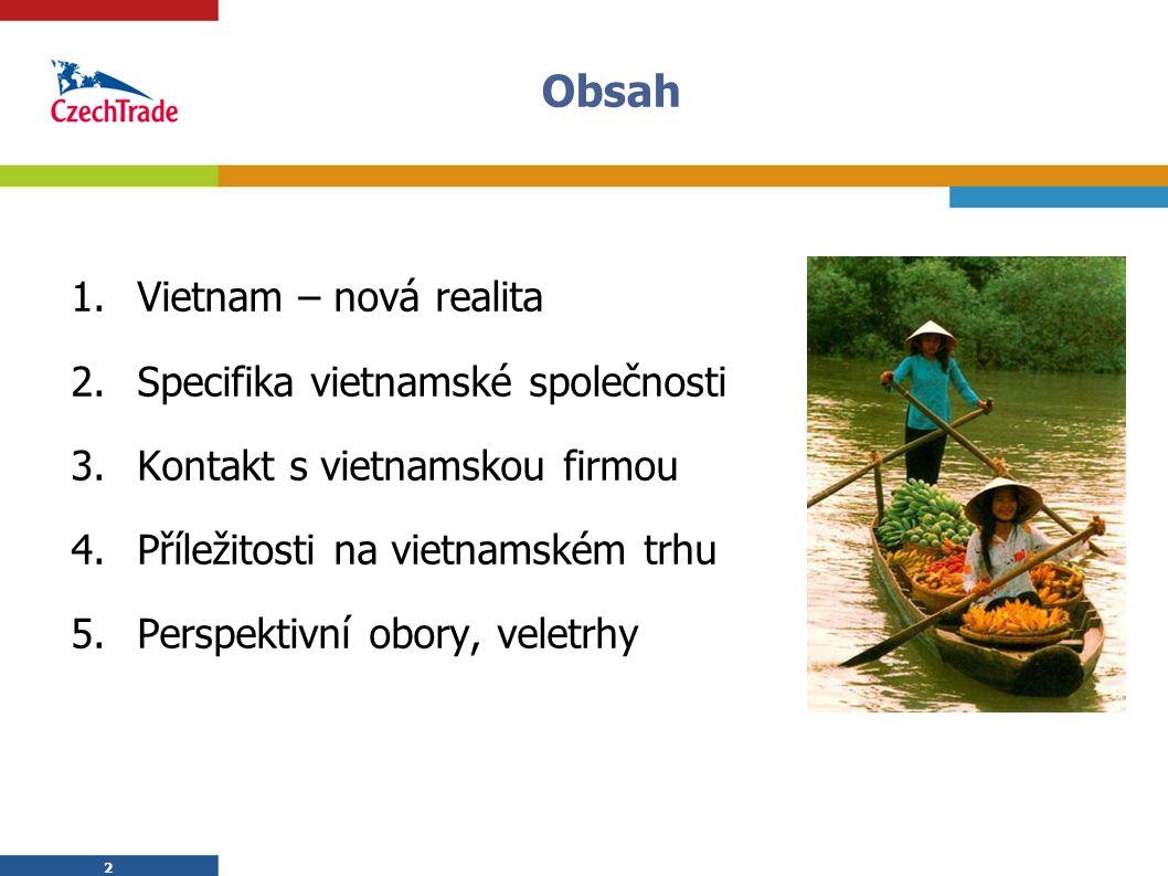 2 Obsah 1.Vietnam – nová realita 2.Specifika vietnamské společnosti 3.Kontakt s vietnamskou firmou 4.Příležitosti na vietnamském trhu 5.Perspektivní o