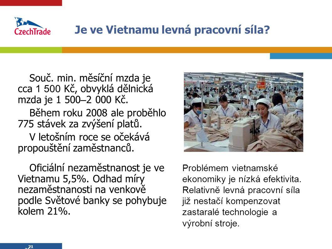 21 Je ve Vietnamu levná pracovní síla? Souč. min. měsíční mzda je cca 1 500 Kč, obvyklá dělnická mzda je 1 500 – 2 000 Kč. Během roku 2008 ale proběhl