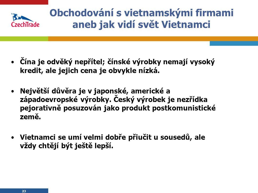 23 Obchodování s vietnamskými firmami aneb jak vidí svět Vietnamci Čína je odvěký nepřítel; čínské výrobky nemají vysoký kredit, ale jejich cena je ob