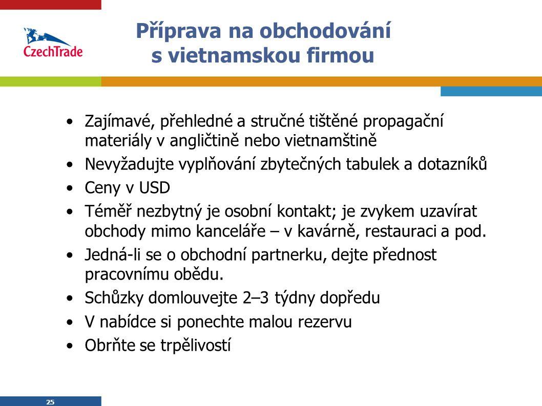 25 Příprava na obchodování s vietnamskou firmou Zajímavé, přehledné a stručné tištěné propagační materiály v angličtině nebo vietnamštině Nevyžadujte