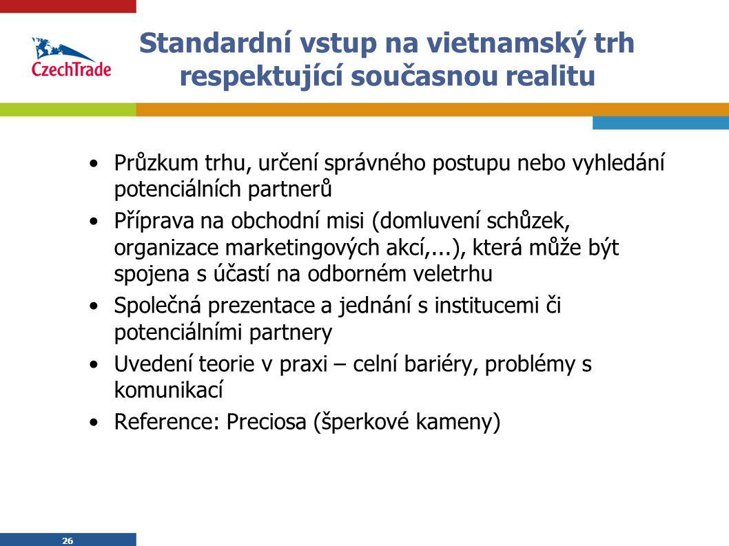 26 Standardní vstup na vietnamský trh respektující současnou realitu Průzkum trhu, určení správného postupu nebo vyhledání potenciálních partnerů Příp