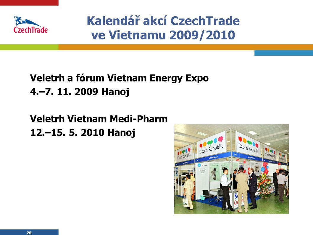 28 Kalendář akcí CzechTrade ve Vietnamu 2009/2010 Veletrh a fórum Vietnam Energy Expo 4.–7. 11. 2009 Hanoj Veletrh Vietnam Medi-Pharm 12.–15. 5. 2010