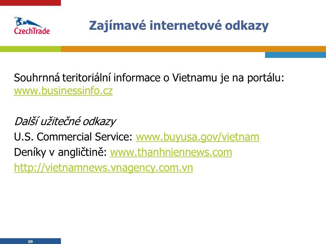 29 Zajímavé internetové odkazy Souhrnná teritoriální informace o Vietnamu je na portálu: www.businessinfo.cz www.businessinfo.cz Další užitečné odkazy