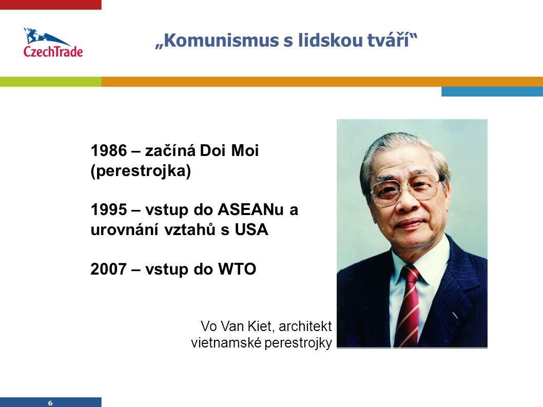"""6 """"Komunismus s lidskou tváří"""" 6 1986 – začíná Doi Moi (perestrojka) 1995 – vstup do ASEANu a urovnání vztahů s USA 2007 – vstup do WTO Vo Van Kiet, a"""