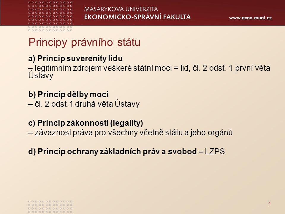 www.econ.muni.cz 4 Principy právního státu a) Princip suverenity lidu – legitimním zdrojem veškeré státní moci = lid, čl.