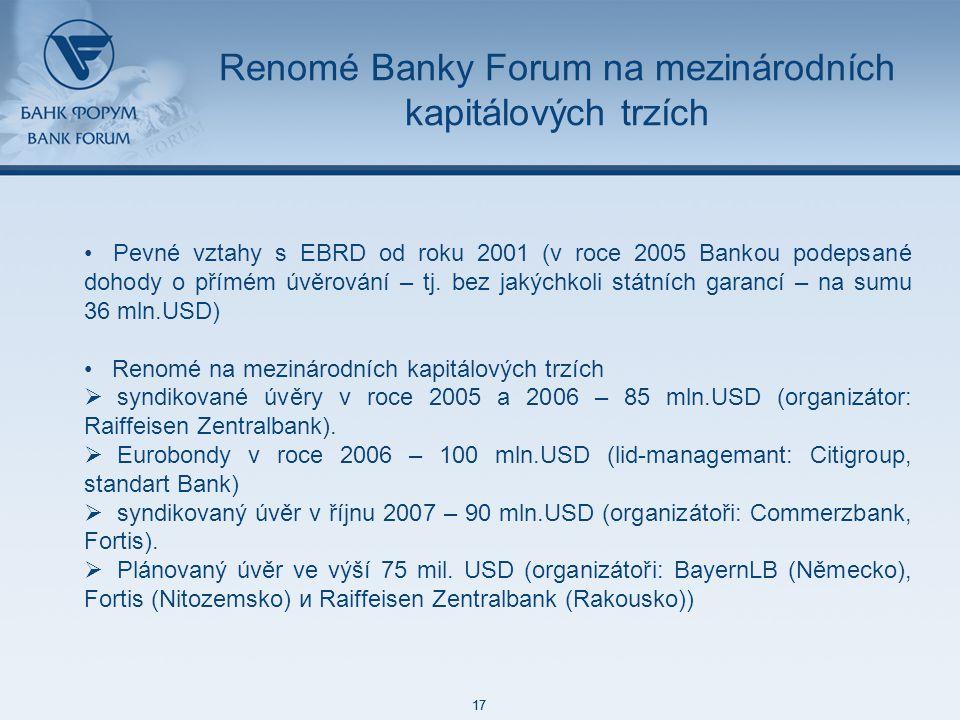 48 85 127 87 129 171 212 113 52 215 188 73 128 17 48 85 127 87 129 171 212 113 52 215 188 73 128 17 Renomé Banky Forum na mezinárodních kapitálových trzích Pevné vztahy s EBRD od roku 2001 (v roce 2005 Bankou podepsané dohody o přímém úvěrování – tj.
