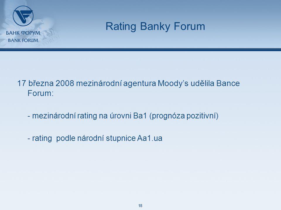 48 85 127 87 129 171 212 113 52 215 188 73 128 18 48 85 127 87 129 171 212 113 52 215 188 73 128 18 Rating Banky Forum 17 března 2008 mezinárodní agentura Moody's udělila Bance Forum: - mezinárodní rating na úrovni Ba1 (prognóza pozitivní) - rating podle národní stupnice Aa1.ua