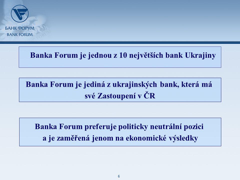 48 85 127 87 129 171 212 113 52 215 188 73 128 6 48 85 127 87 129 171 212 113 52 215 188 73 128 6 Banka Forum je jednou z 10 největších bank Ukrajiny Banka Forum je jediná z ukrajinských bank, která má své Zastoupení v ČR Banka Forum preferuje politicky neutrální pozici a je zaměřená jenom na ekonomické výsledky