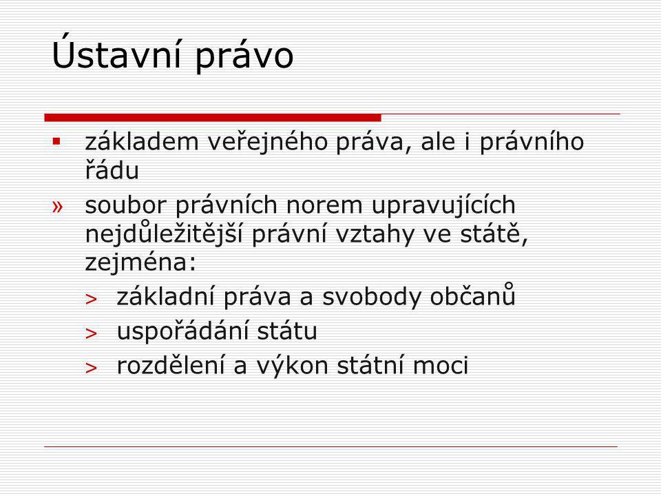  prameny ústavního práva:  především Ústavní zákon č.