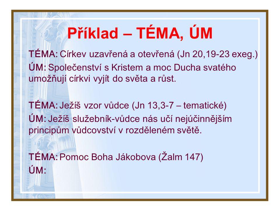 Struktura kázání – TÉMA, ÚM Téma kázání se podobá kmenu stromu Dvě formy vyjádření myšlenky kázání: TÉMA: Předmět – o čem se hovoří? (2 Příchod, křest