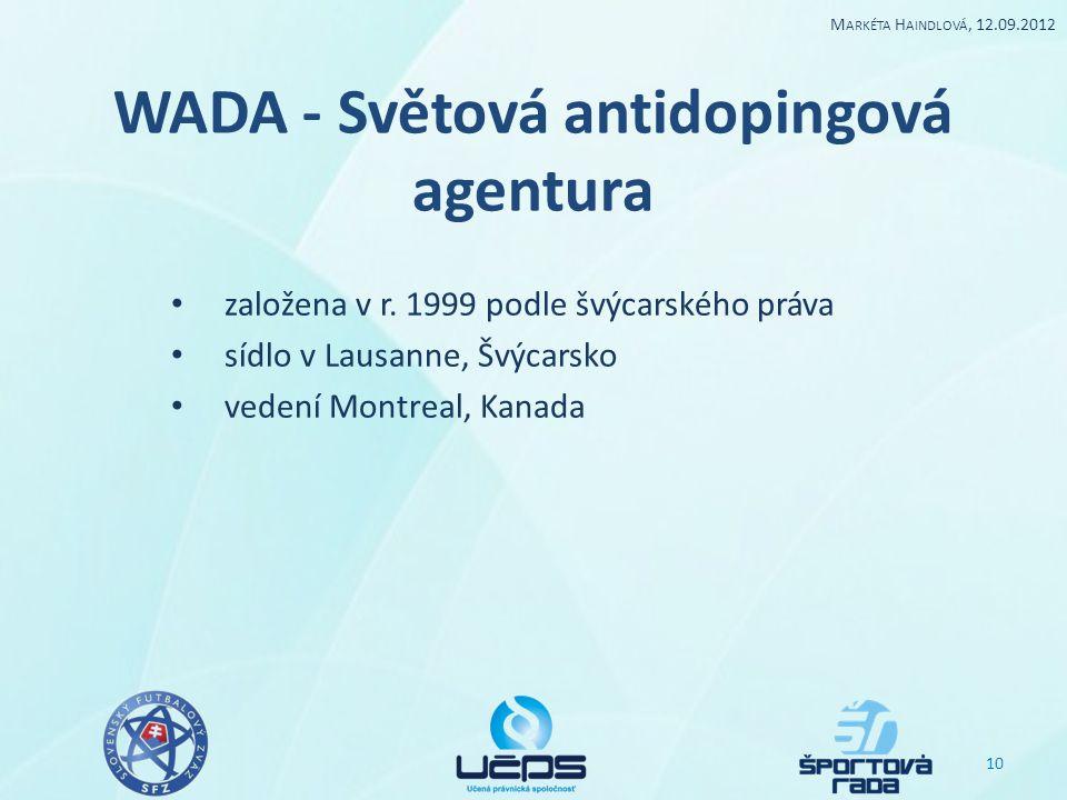 WADA - Světová antidopingová agentura založena v r. 1999 podle švýcarského práva sídlo v Lausanne, Švýcarsko vedení Montreal, Kanada 10 M ARKÉTA H AIN