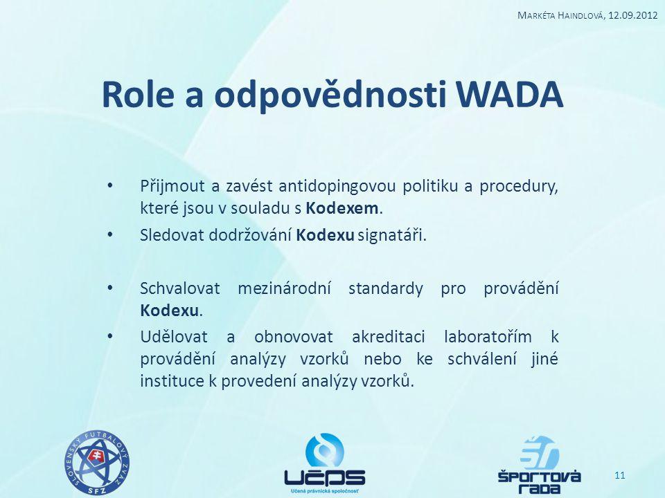 Role a odpovědnosti WADA Přijmout a zavést antidopingovou politiku a procedury, které jsou v souladu s Kodexem. Sledovat dodržování Kodexu signatáři.