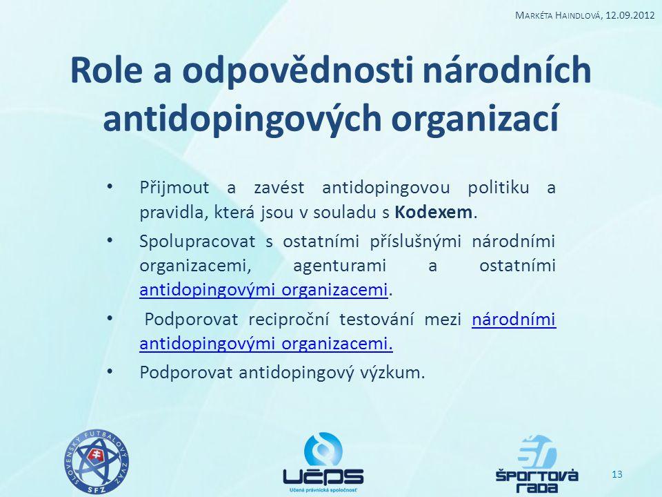 Role a odpovědnosti národních antidopingových organizací Přijmout a zavést antidopingovou politiku a pravidla, která jsou v souladu s Kodexem. Spolupr