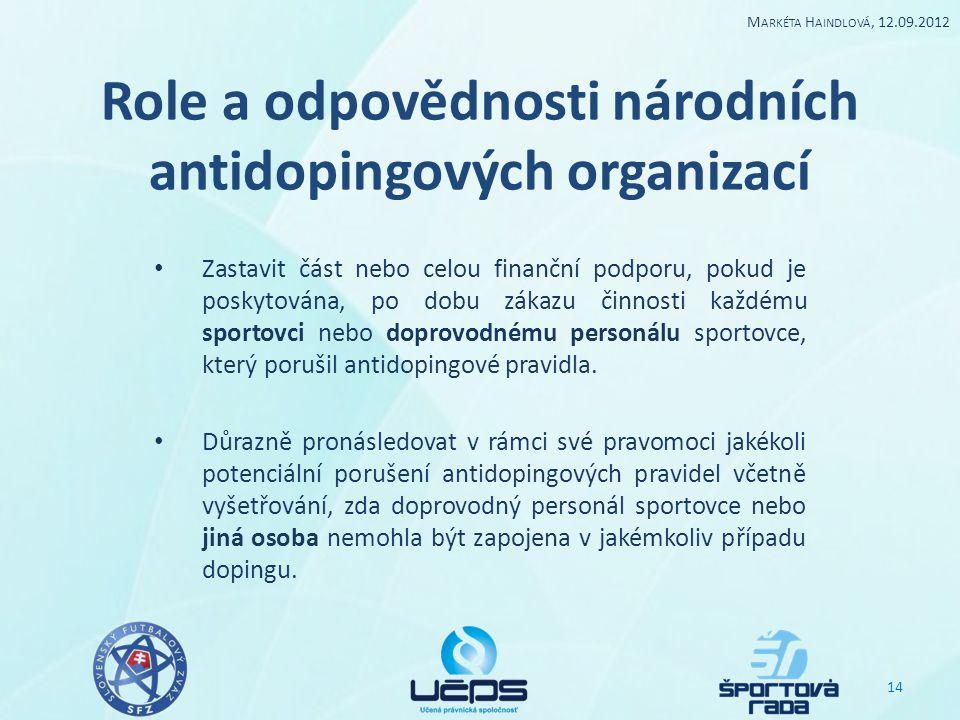 Role a odpovědnosti národních antidopingových organizací Zastavit část nebo celou finanční podporu, pokud je poskytována, po dobu zákazu činnosti každ
